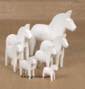 Dala horse - Dalecarlian horse one coloured 5 cm white