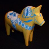 Dala horse - Dalecarlian horse Sweden-Series Yellow 5 cm