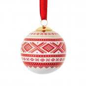Porsgrund porcelain Christmas tree ball Julekulle Marius red