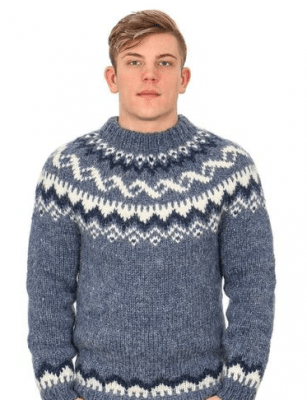 Handknitting Association of Iceland Island Tröja Denim heather p