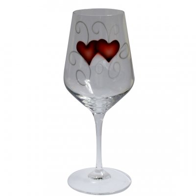 Nybro Crystal - Wine glass Heart guld 2-pack
