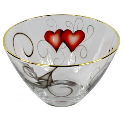 Nybro Crystal - Bowl Heart 125×215 mm guld