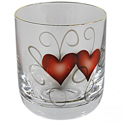 Nybro Crystal - Whiskyglas Heart Golden Ink
