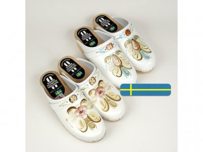 Sweden clogs hand made white