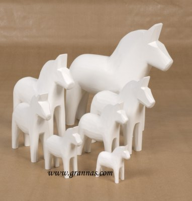 Dala horse - Dalecarlian horse one coloured 7 cm white