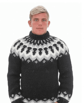 Handknitting Association of Iceland Icelandic sweater Black men
