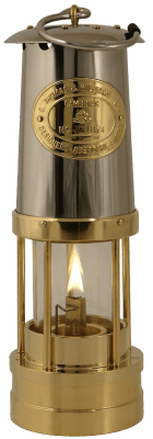 Welsh Miner´s Lamp Brass with a stainless steel top and flat bur