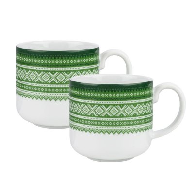 Porsgrund porcelain Marius coffee cup 2 pieces green