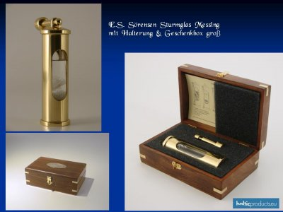 E.S. Sørensen Danish Stormglass Baroscoop Brass incl. Suspension and box