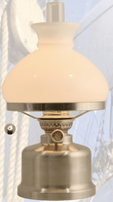 E. S. Sørensen old danish table lamp Vesta kerosene brushed stee